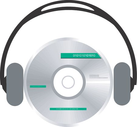 writable: Illustration of a an headphone hearing compact disc