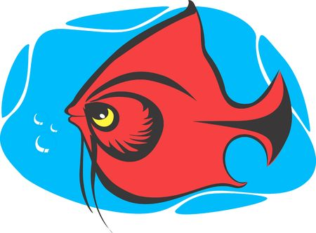 red fish: Illustration of a red fish in water