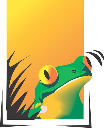 croaking: Illustration of a frog looking from bushes