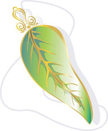 medaglione: Illustrazione di un colore verde dorato medaglione in una catena Archivio Fotografico