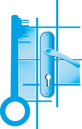 Illustration of key and handle locks in blue Stock Illustration - 2918858