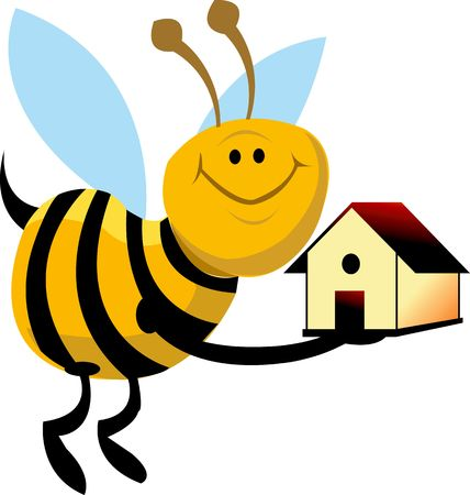 Illustration of a honeybee with a house