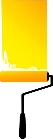 rollerbrush: Illustration of a  yellow colour roller  Stock Photo