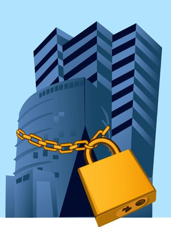 Illustration of buildings locked with a chain Stock Illustration - 2919594