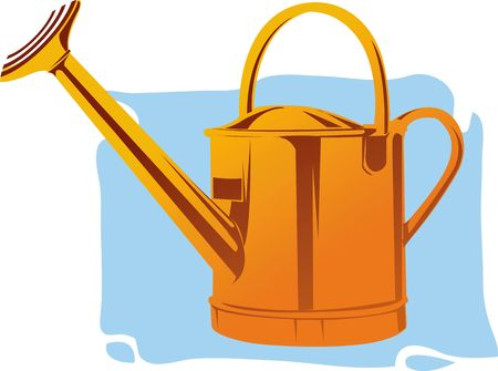 Illustration of golden watering can  illustration