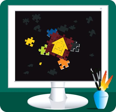 deficient: Illustration of jigsaws in a monitor