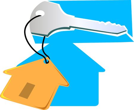 Illustration of a key with a tag of house Stock Illustration - 2919579