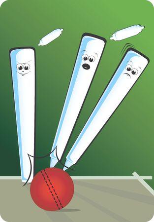 Illustration of cricket stump with bail away   illustration