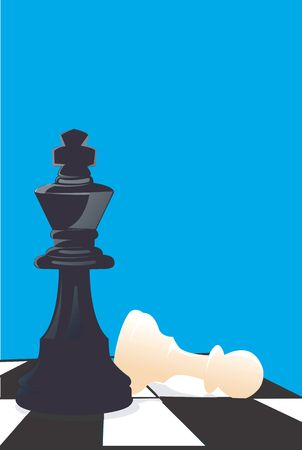 A pawn and king on a chess board   photo