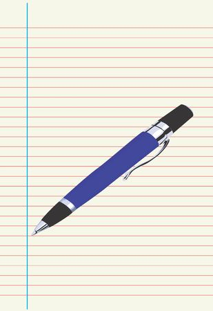 written date: Illustration of a pen on top of a paper