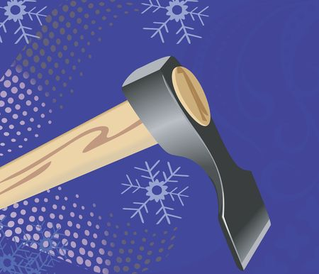 Illustration of a axe in blue background Stock Illustration - 2923801