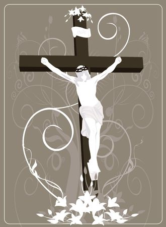 crucification: Illustration of Jesus Christ in cross in floral background