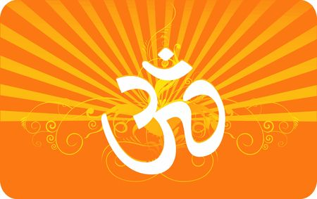 Illustration of Om in decorated yellow  illustration