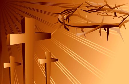 crucification: Illustration of crosses and crown of thorns
