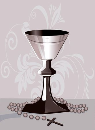 almighty: Illustration of rosary and bowl in floral background