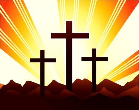 crucification: Illustration of crosses in the hill with radiant beam light