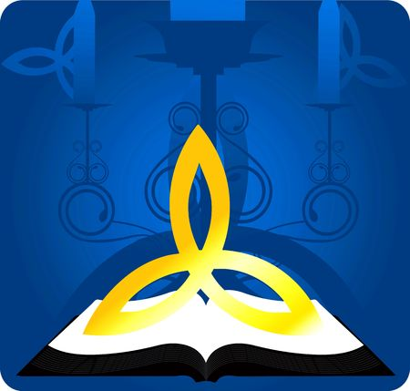 veda: Illustration of divine book and symbol in floral background