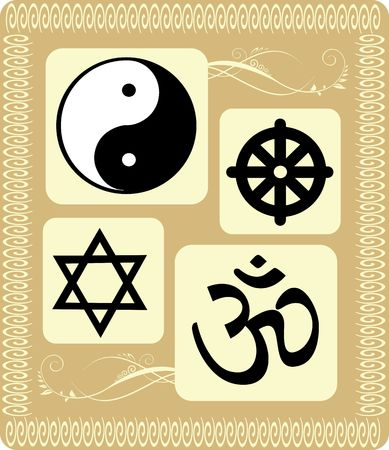 pooja: Illustration of various religious symbols in floral background  Stock Photo