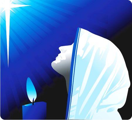 Ilustración de la silueta de una monja rezando en vela ligera Foto de archivo - 2924051