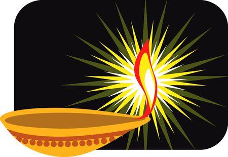 Illustration of divine pot lamp in black canvas  illustration