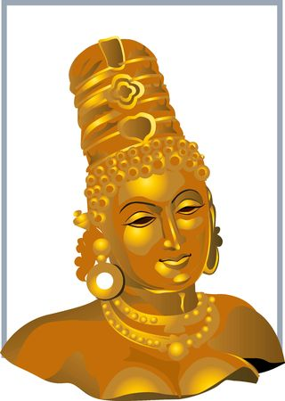 devi: Illustration of divine Devi sculpture  Stock Photo