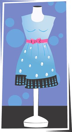 frock: Illustration of a blue coloured frock in a stand