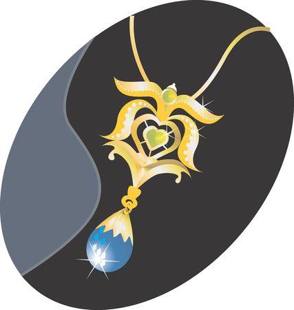 pendant: Illustration of golden necklace with diamond pendant  Stock Photo