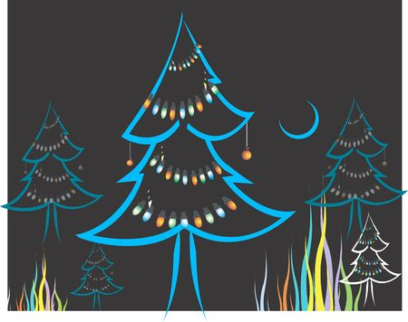 public celebratory event: Illustration of Christmas tree with decorations at night and half-moon on the sky