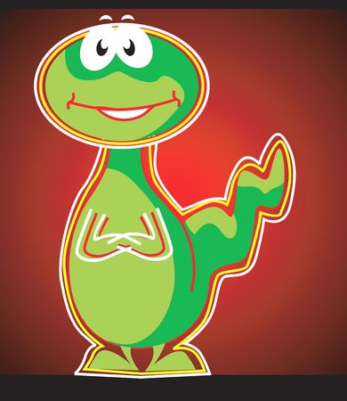 Illustration of a green dinosaur laughing Stock Illustration - 2946016