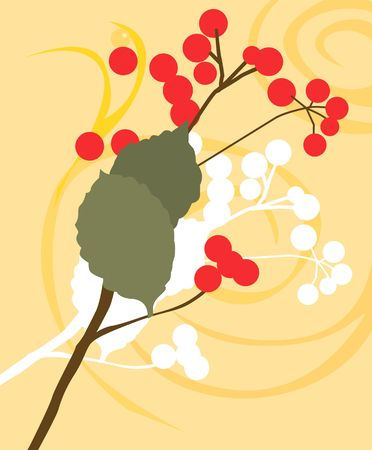 Illustration of berries and leaves in floral background  illustration