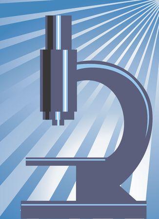 Illustration of a microscope in radiant blue light Stock Illustration - 2987474