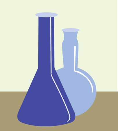 conical: Illustration of two conical flask in laboratory  Stock Photo