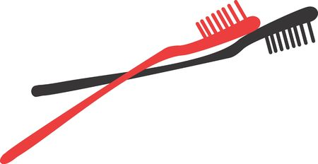 body concern: Illustration of red and black toothbrushes  Stock Photo