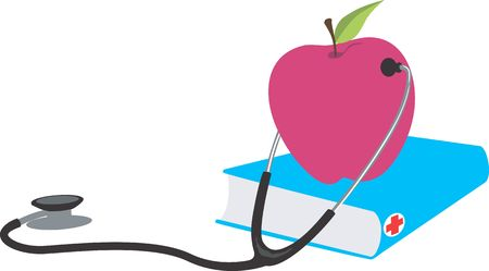 Illustration of a stethoscope checking an apple  illustration