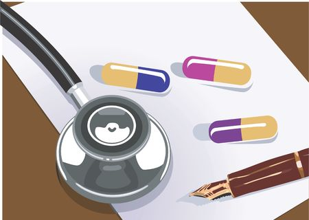 general practitioner: Illustration of a stethoscope and tablets on a paper  Stock Photo