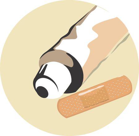 antiseptic: Illustration of plaster and antiseptic cream Stock Photo