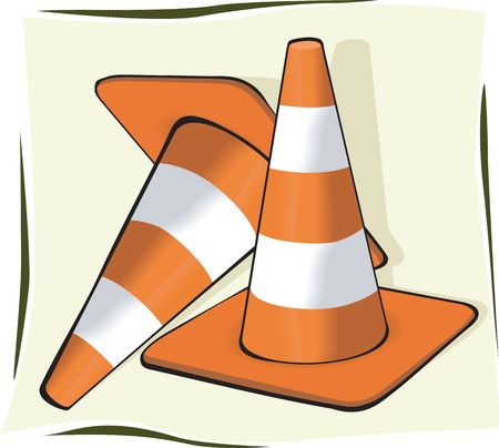 Illustration of two road divider cones painted orange and white  illustration