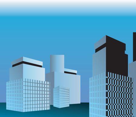 multi storey: Illustration of a group of multi storey building  Stock Photo