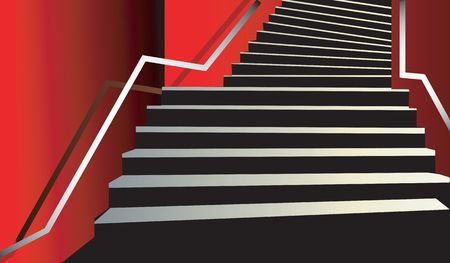 beading: Illustration of upstairs steps with steel beading  Stock Photo