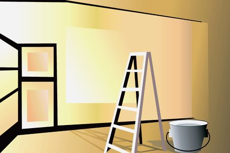 furnishing: Illustration of a glossy room in the process of furnishing