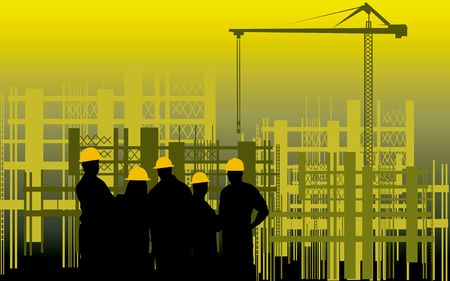 Illustration of silhouette of group of men standing in a construction site  Stock Photo