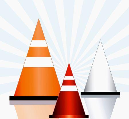 Illustration of three rod divider cones   illustration