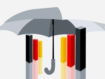 Illustration of three graphical blocks placed under an umbrella  Stock Photo