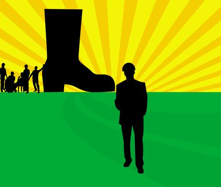safety shoes: Illustration of silhouette of men around a safety boot