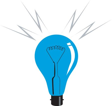 Illustration of electric bulb in blue colour illustration