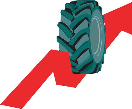 rolling up: Illustration of tyre rolling up on arrow