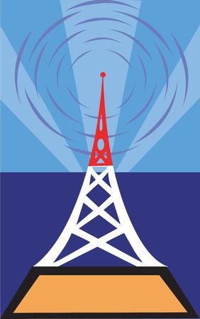 erect: Illustration of antenna tower in blue background