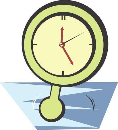 reloj de pendulo: Ilustraci�n de color verde reloj de p�ndulo  Foto de archivo