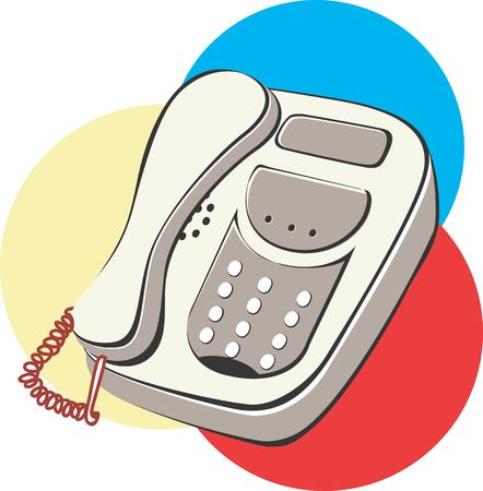 touchtone: Illustration of a telephone in colourful circles