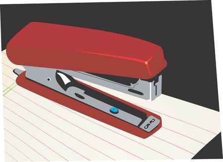 Illustration of a paper stapler on top of a paper